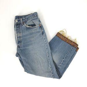 Levi's 501 Denim Jean High Rise Crop Embellished